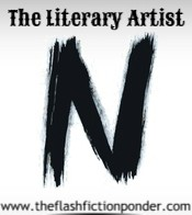 N painted with brush strokes, for the short story The Literary Artist.