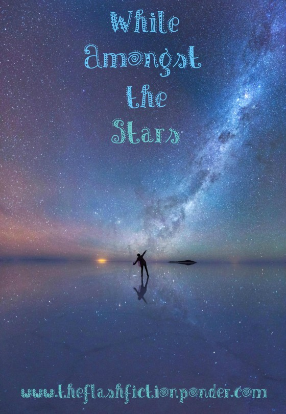 Person on the beach, stars and universe high above in the sky. Image for While Amongst The Stars by Rico Lamoureux of The Flash Fiction Ponder.