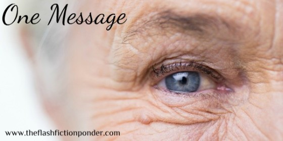 Blue eye of a senior citizen, image for the short story, The Message, by The FLash Fiction Ponder.