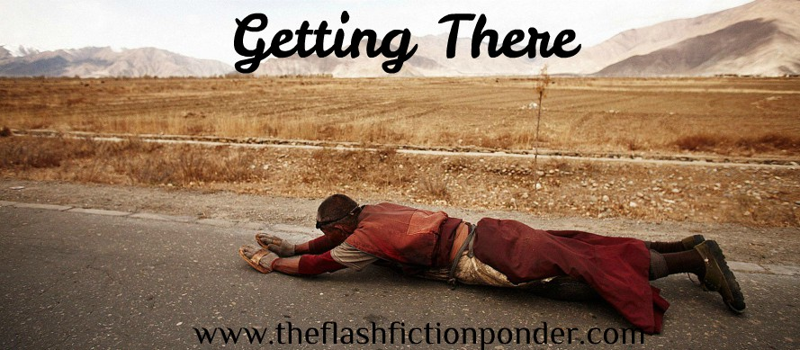 A Buddhist pilgrim does a prostration in this cover image for the short story, Getting There.