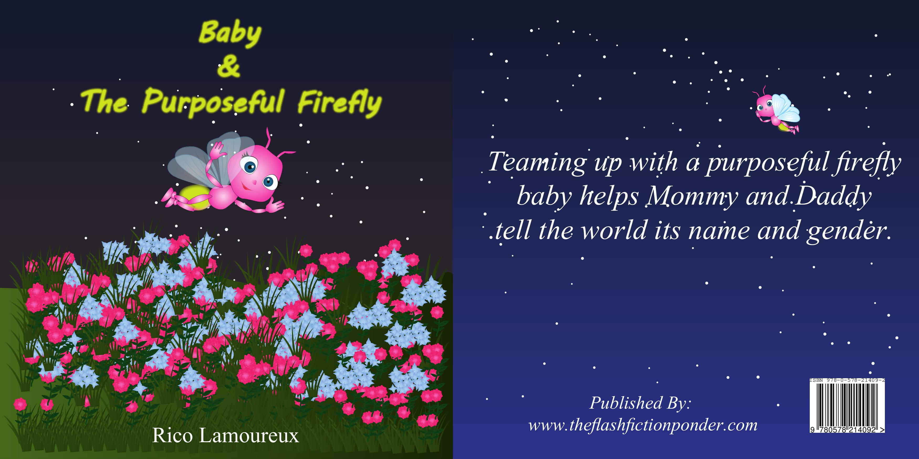 Gender Reveal Children's Picture Book firefly above garden