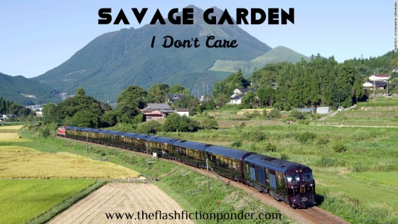 Train travelling through countryside, image of I Don't Care by Savage Garden.