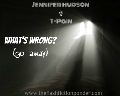 Overhead light in a pitch black room, image for What's Wrong (go away) by Jennifer Hudson and T-Pain. Music video script by Rico Lamoureux of The Flash Fiction Ponder.