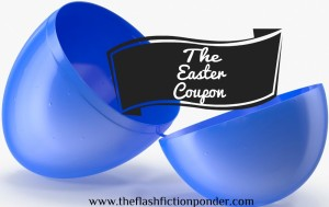 Hatched open blue plastic Easter egg with a Easter coupon inside, for the story The Easter Coupon, from The Flash Fiction Ponder.