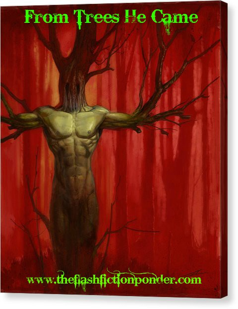 A tree becoming a man, cover image for the short story, 'From Trees He Came', by The Flash Fiction Ponder.