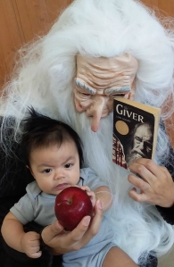 Journey Teller Lamoureux and his father Rico Lamoureux of The Flash Fiction Ponder dress up as Jonas and The Giver for Halloween 2019.