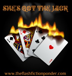 Playing cards in flames, image for AC/DC's She's Got the Jack, music video script written by Rico Lamoureux of The Flash Fiction Ponder.