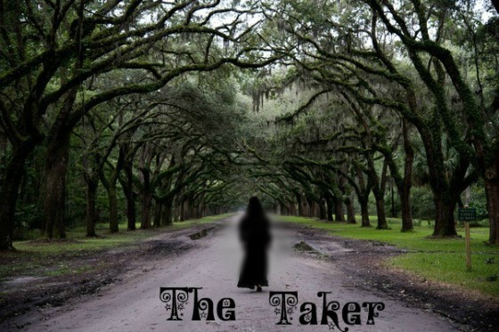 A mysterious woman dressed in all black walks into a village, image for The Taker, written by Rico Lamoureux of The Flash Fiction Ponder.