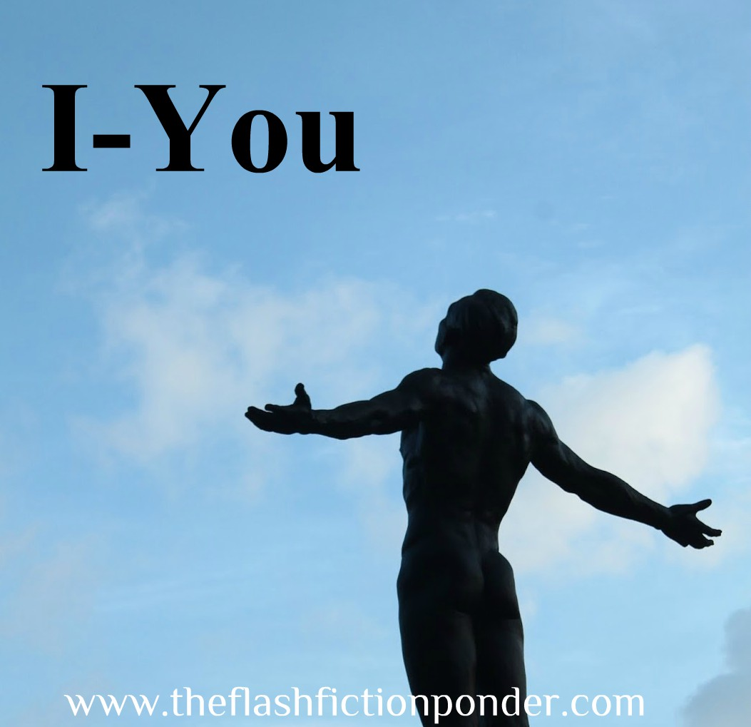 Man with outstretched arms looking towards sky, image for 'I-You', song by Bamboo, music video script by The Flash Fiction Ponder.