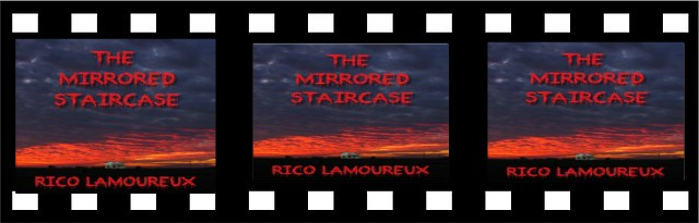 Strip of film with horror story The Mirrored Staircase, from The Flash Fiction Ponder.