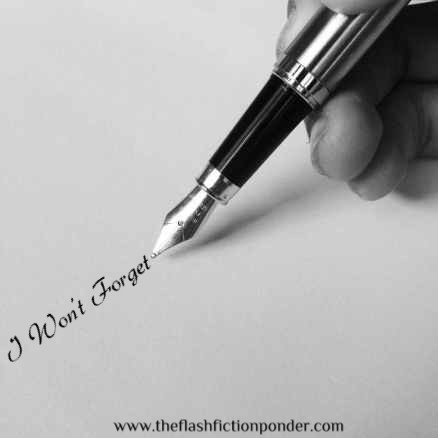Hand writing a letter, image for Kenny Rogers song 'I Won't Forget', music video script by The Flash Fiction Ponder.