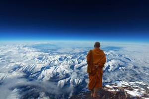Monk high above mountain tops, for the science fiction short story 'The Message' by The Flash Fiction Ponder.