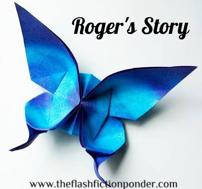 "Blue origami butterfly, for the short story, ""Roger's Story', by The Flash Fiction Ponder."