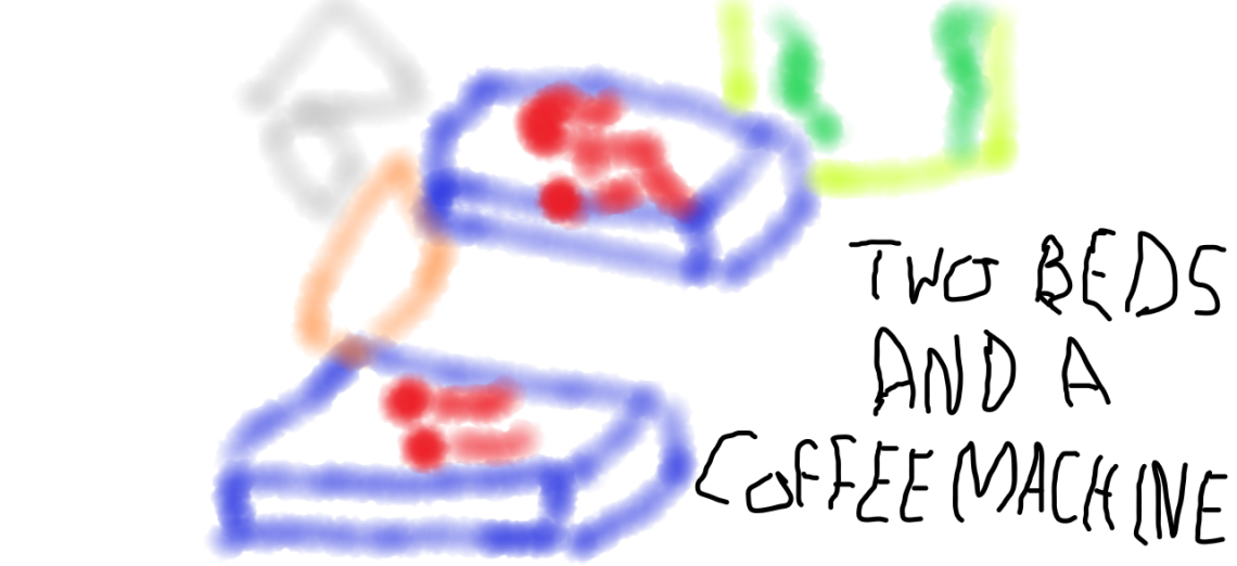 Image of motel room drawn by a child, for the song Two Beds and a Coffee Machine, music video script by The Flash Fiction Ponder.