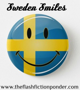 Smiley of Swedish flag, image for Sweden Smiles from The Flash Fiction Ponder.