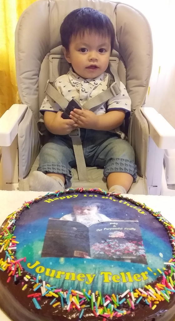 Journey Teller's 1st Birthday! With personalized birthday cake.