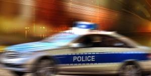Speeding police car.