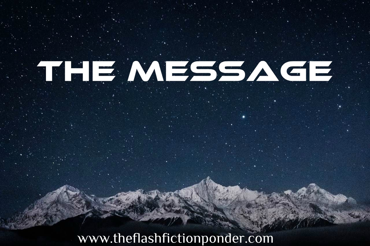 Snow-capped mountains at night looking like they are glowing, image for the Science Fiction short story 'The Message' from The Flash Fiction Ponder.