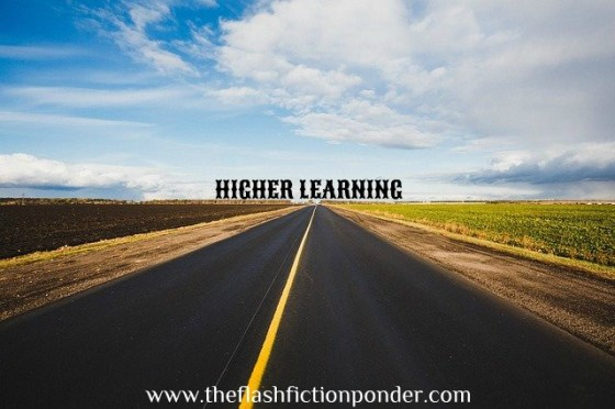Open road and open sky, image for short story 'Higher Learning', by The Flash Fiction Ponder.